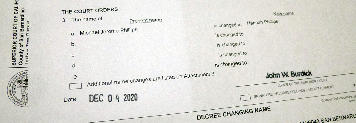 name change decree