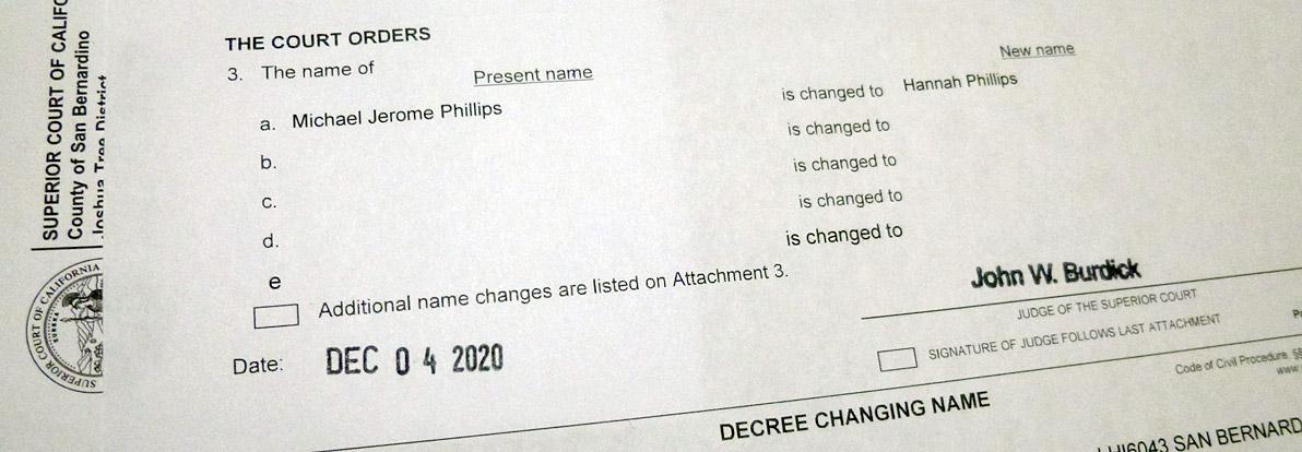 name change decree