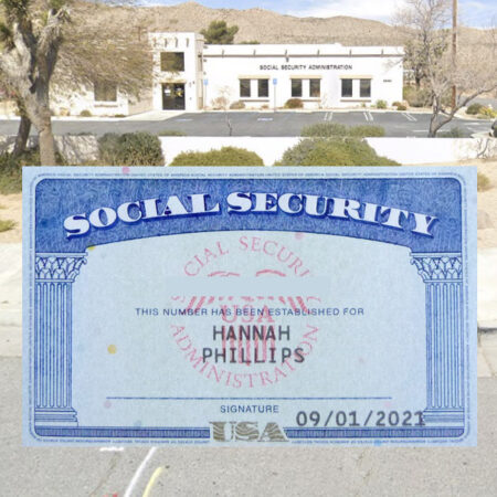 social security card on top of social security office