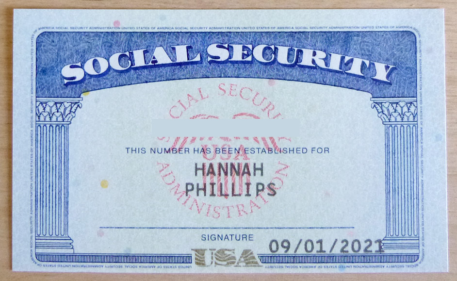genuine United States of America social security card